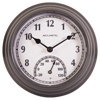 8 5 outdoor indoor wall clock with thermometer gunmetal gray finish acurite