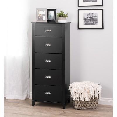 yaletown 5 drawer tall chest black prepac