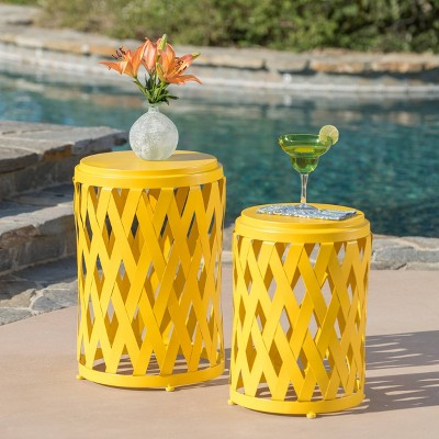 2pc selen outdoor patio iron side table set yellow christopher knight home