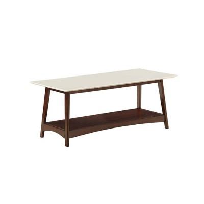alpine coffee table white top espresso breighton home
