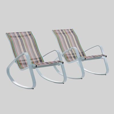 traveler rocking mesh sling stripe patio lounge chair green modway