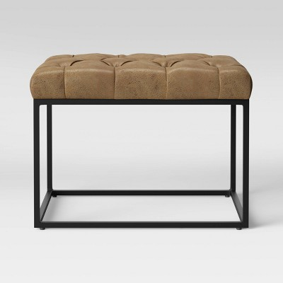 trubeck tufted metal base ottoman faux leather brown project 62