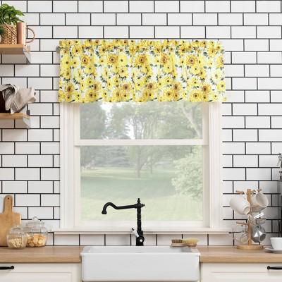 14 x54 sunflower print semi sheer rod pocket kitchen curtain valance yellow no 918