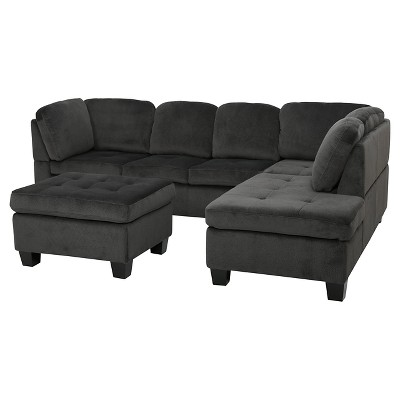 3pc canterbury fabric sectional sofa set charcoal christopher knight home