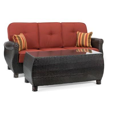 la z boy outdoor breckenridge 2pc wicker outdoor sofa and coffee table set with sunbrella meredian brick cushion