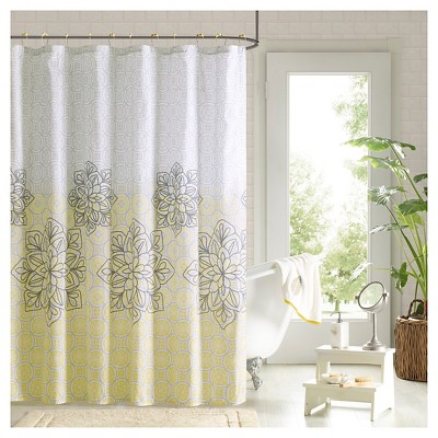 72 x72 shower curtain and hook set yellow