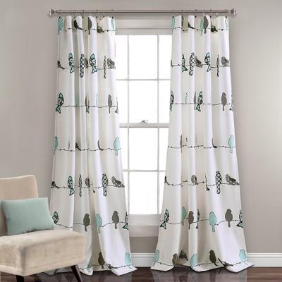 set of 2 52 x84 rowley birds room darkening window curtain panels blue gray lush decor