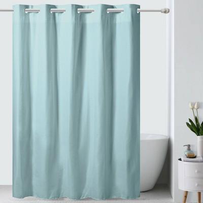 embossed microfiber shower curtain blue hookless