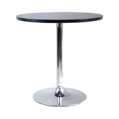 spectrum round dining table with metal base wood black winsome