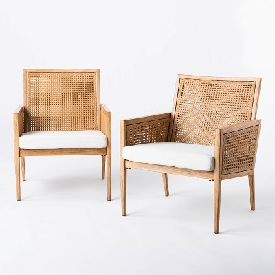 benmore 2pk wicker faux wood patio accent chairs threshold designed with studio mcgee