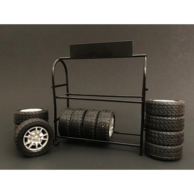 metal tire rack with rims and tires for 1 24 scale models by american diorama