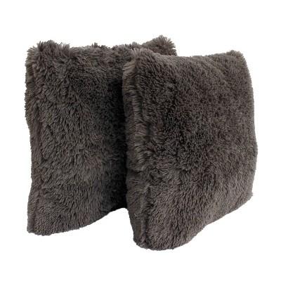 2pk charcoal chubby faux fur pillow gray decor therapy