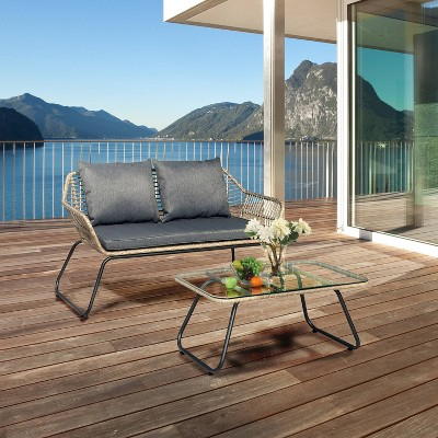 lugano 2pc rattan wicker outdoor patio loveseat coffee table set with cushions natural gray dukap