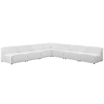 mingle 7pc upholstered fabric sectional sofa set white modway