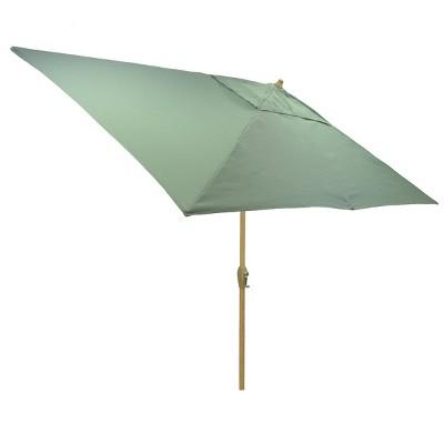 10 x 6 rectangular patio umbrella duraseason fabric aqua light wood pole threshold