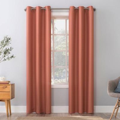 84 x40 herschel slub textured semi sheer grommet top curtain panel coral orange no 918