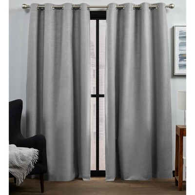 set of 2 84 x52 bensen 100 blackout grommet top curtain panel gray exclusive home