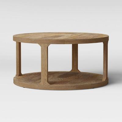 castalia round natural wood coffee table threshold