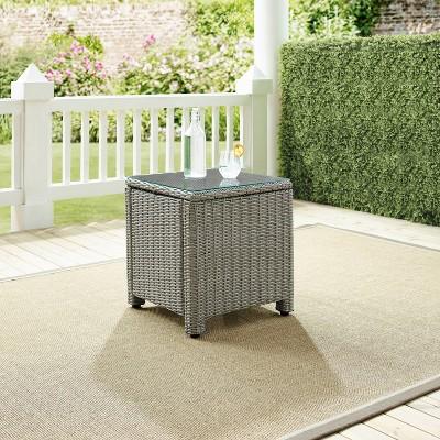 bradenton outdoor wicker side table gray crosley