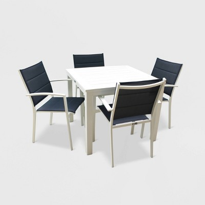 5pc skyline aluminum outdoor square table dining set white blue courtyard casual