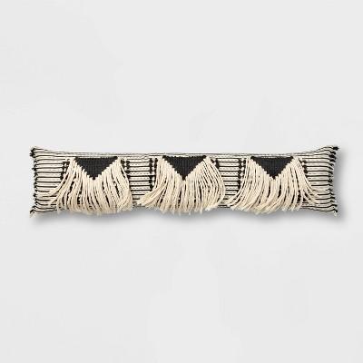 bed lumbar global fringe decorative pillow black cream opalhouse