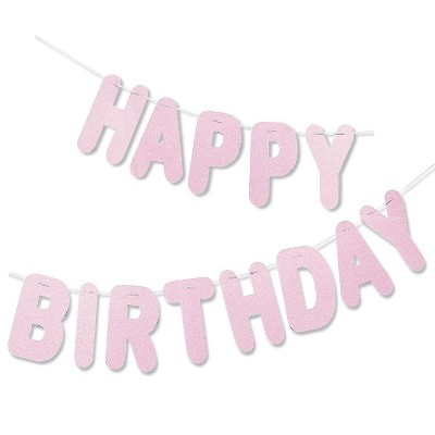 Juvale Glittery Pink Happy Birthday Letters Banner Sign Garland Hanging Party Decorations 10 5 Feet Target