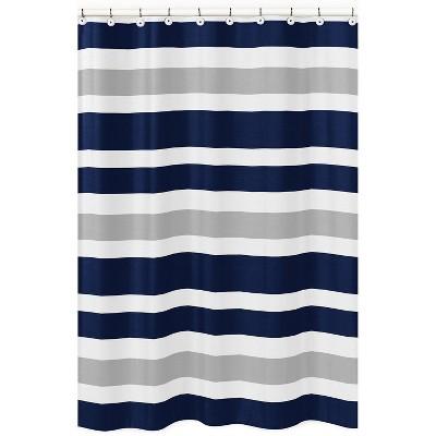 striped shower curtain navy gray sweet jojo designs