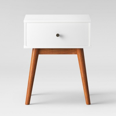 amherst mid century modern two tone side table white brown project 62