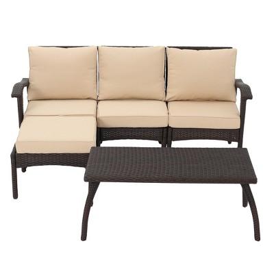 Maui 5pc All Weather Wicker Patio L Shaped Sofa Set
