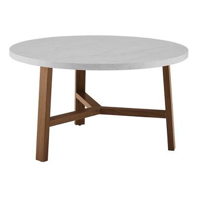 30 modern round y leg coffee table faux white marble acorn saracina home