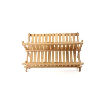 mind reader wooden dish rack bamboo brown