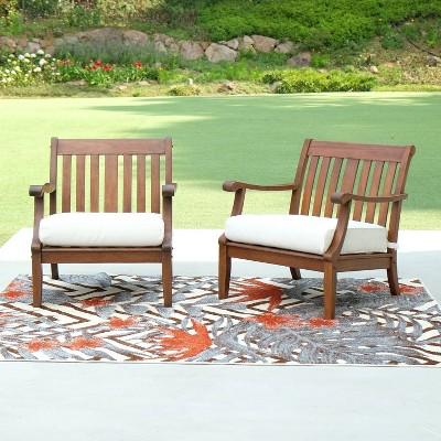 sopra 2pc wood patio lounge chair with cushion white cambridge casual