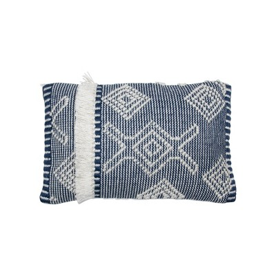 blue and white hand woven 14 x 22 inch outdoor decorative throw pillow cover with insert and hand tied fringe foreside home garden