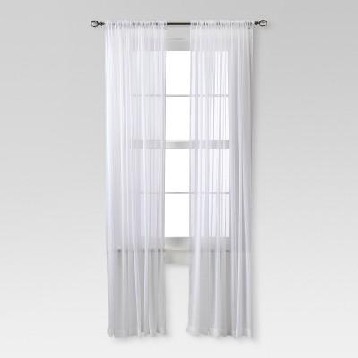 chiffon sheer curtain panel white threshold