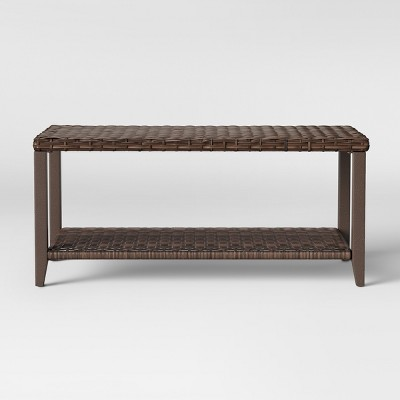 threshold halsted wicker rectangle patio coffee table brown threshold from target accuweather