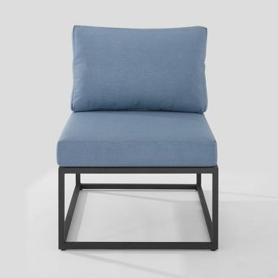 outdoor modern modular patio side chair blue saracina home