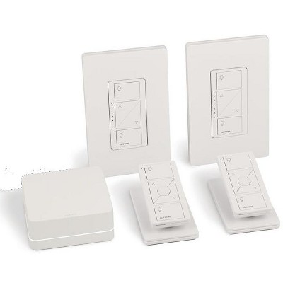 lutron caseta wireless smart light dimmer switch 2 count starter kit with pedestals for pico wireless remotes works with alexa apple homekit and