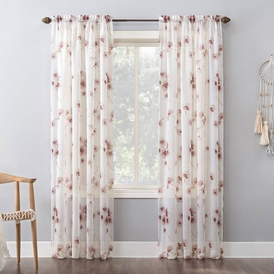 95 x51 carolyn floral print crushed sheer voile rod pocket curtain panel pink no 918