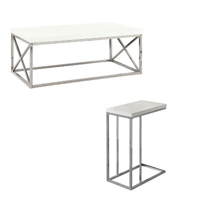 monarch glossy white chrome contemporary living room coffee table end table