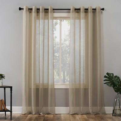 63 x59 emily sheer voile grommet top curtain panel beige no 918