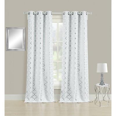 goodgram 2 pack metallic lattice foil ultra luxurious curtains 38 in w x 108 in l silver