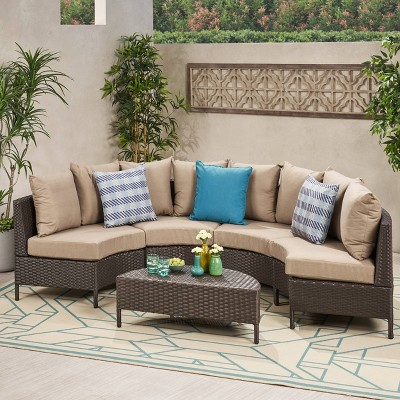 newton 5pc wicker patio lounge set brown christopher knight home