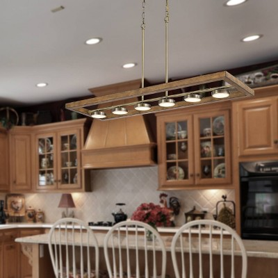 45 x 22 wood metal contemporary island chandelier light oak cal lighting