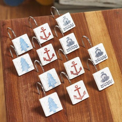 lakeside lakewords shower curtain hooks with anchor tree boat set of 12