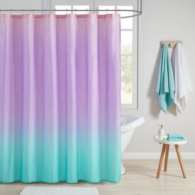 dazzle ombre printed glitter shower curtain aqua