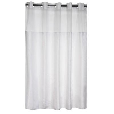 herringbone shower curtain with liner white hookless