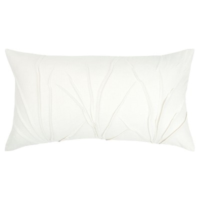 textured solid decorative filled oversize lumbar throw pillow white rizzy home