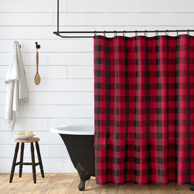 farmhouse living buffalo check rustic holiday christmas fabric shower curtain 72 x 72 red black elrene home fashions