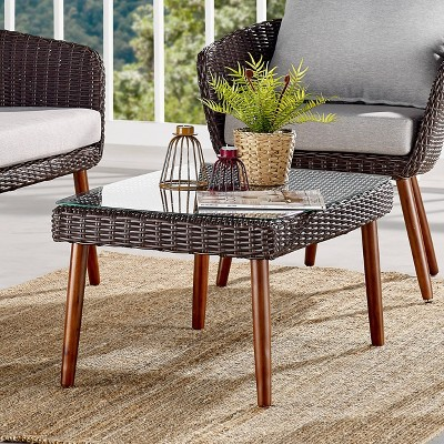 all weather wicker athens outdoor coffee table with glass top brown alaterre furniture