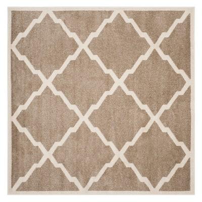 7 x7 square outdoor patio rug wheat beige safavieh